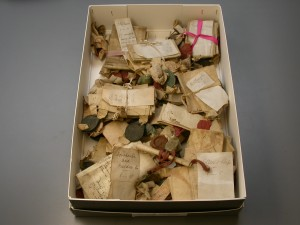 Deeds in an archive box, decanted during the pest scare