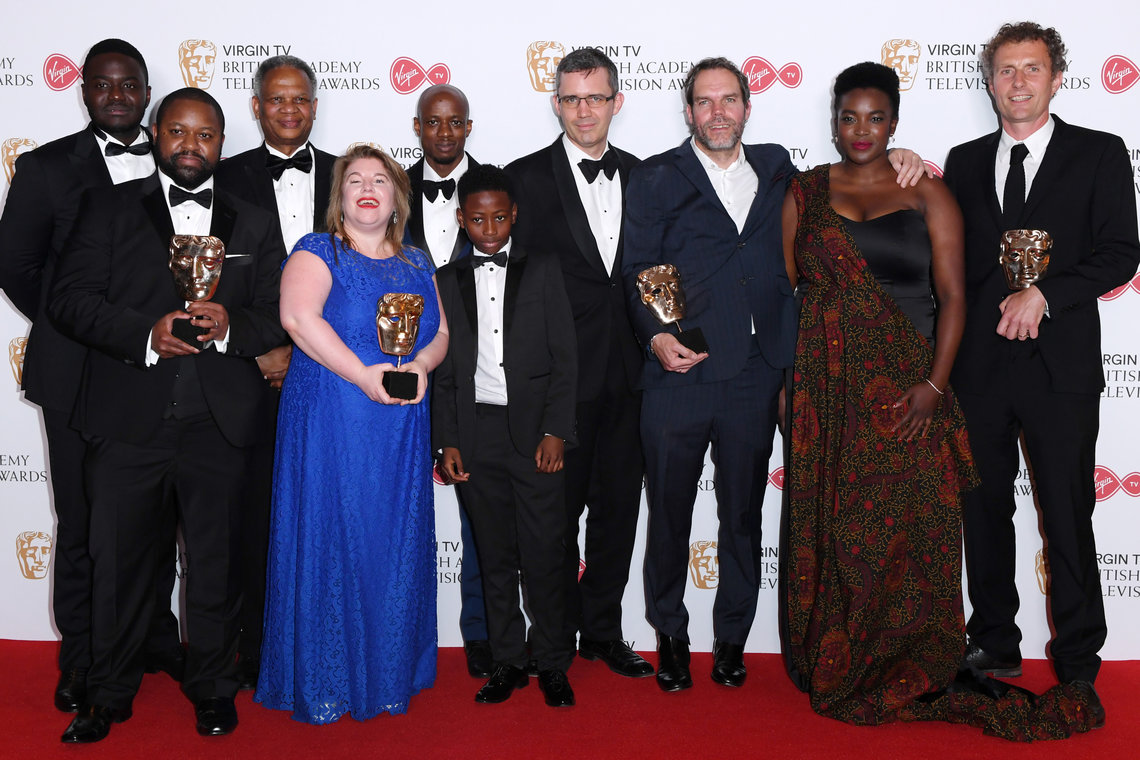 Sue Horth (fourth from left) winning the BAFTA for Best Single Drama, 'Damilola, Our Loved Boy'.