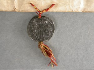 Lead papal seal, showing Peter and Paul