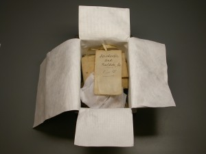 A small box, lined with Tyvek to protect deeds