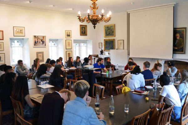 Participants from the 2019 Law at Magdalen Residential at an Interview Workshop with our Law tutors.