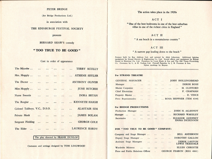 Programme for Too True To Be Good, 1965.